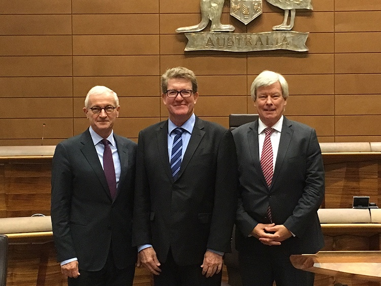 L-R Adjunct Professor, the Hon James Allsop AO, Chief Justice of the Federal Court of Australia, Adjunct Professor Malcolm Holmes QC and  Adjunct Professor Peter McQueen