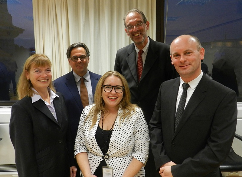 Professor Susanne Reindl-Krauskopf, Professor Paul Oberhammer (Dean of the Faculty of Law), Ms Gaia Puleston (First Secretary, Australian Embassy), Professor Hein Fassmann (Deputy Vice Chancellor Research & International), and Professor Andreas Schloenhardt