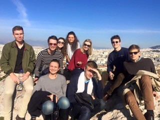 The UQ WUDC 2016 team at the Acropolis in Athens, ahead of the competition in Thessaloniki