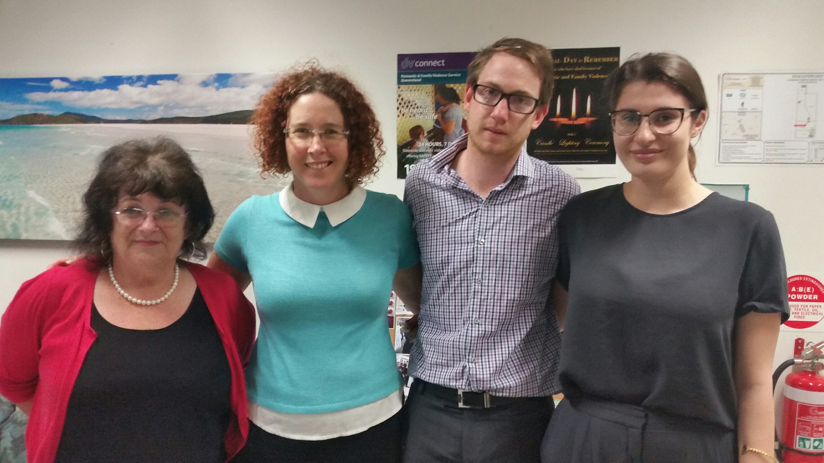 Dianne Mangan, CEO DV Connect; Elissa Farrow, Acting Chair of the Board, Nicholas Lindsay, Rosemary Deeb