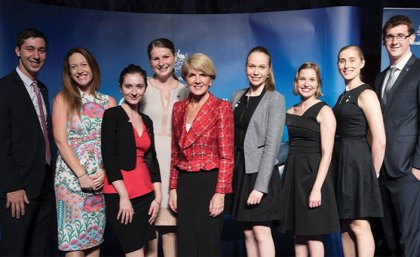 From left, Michael Lucas; UQ Global Engagement Deputy Director Dr Jessica Gallagher, Caitlin Gordon-King, Sophie Ryan, Foreign Affairs Minister Julie Bishop, Kate Goodfruit, Rachel Dodds, Elsie Schuster and Alexander Williams