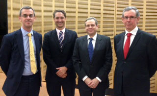 Dr Steven Elliot, The Hon Justice James Edelman (High Court of Australia), Dr Ben Kremer and the Hon Justice Fraser (Supreme Court of Queensland). Participants in the first CLI seminar of the 2013 series.