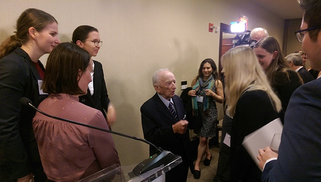Nuremberg prosecutor Benjamin Ferencz shared his wisdom with the team