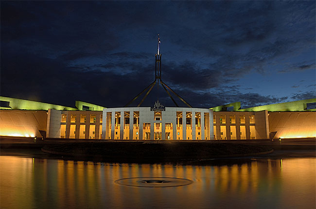 Parliament House, Canberra, at night