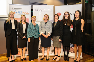 Georgia Williams and other Una Prentice Award recipients with the Honourable Catherine Holmes, Chief Justice of Queensland and Noela L'Estrange (WLAQ Honorary Member)