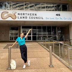 Anna out the front of her Aurora Internship Program placement, the Northern Land Council (NLC) in Darwin.