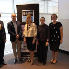 Ambassador Dr Bernhard Zimburg (Ambassador of Austria to Australia), Professor Andreas Schloenhardt (UQ), Professor Susanne Reindl-Krauskopf (UQ, U:Vie), Professor Sarah Derrington (UQ), Ms Alison Carrington (DFAT)