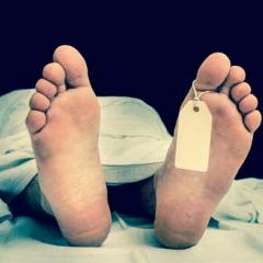 Deceased person in morgue