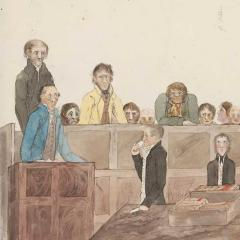 Sketch of courtroom in Sydney, c1817, via Wikimedia Commons, CC0