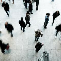 aerial of pedestrians