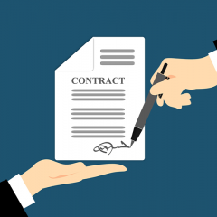 vector art of a hand signing a contract being presented by another party.