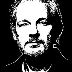 artist sketch of Julian Assange