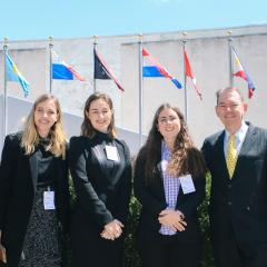 Alan Davidson and students at the UN