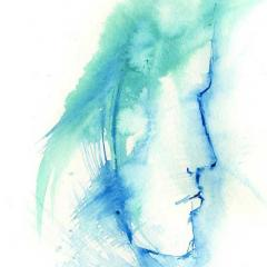 watercolour silhouette of woman's face