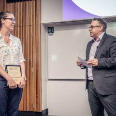 This is an image of award-winner Dr Rebecca Ananian-Welsh with Professor Brent Ritchie