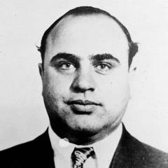 Mugshot of Al Capone. (1899-1947)  This picture shows a Bertillon photograph of Capone made by the US Department of Justice.
