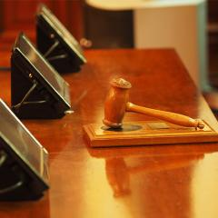 gavel on a judges bench