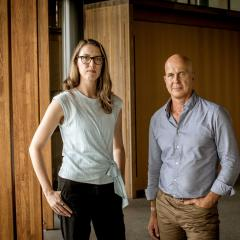 Dr Rebecca Ananian-Welsh and Professor Peter Greste standing side by side
