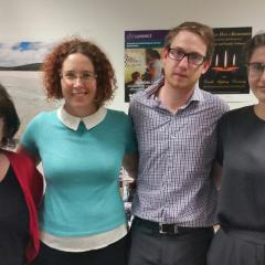 Left to Right:  Dianne Mangan, CEO DV Connect; Elissa Farrow, Acting Chair of the Board, Nicholas Lindsay, Rosemary Deeb
