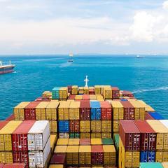 a large cargo ship at sea