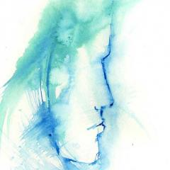 watercolour silouhette of a woman's face